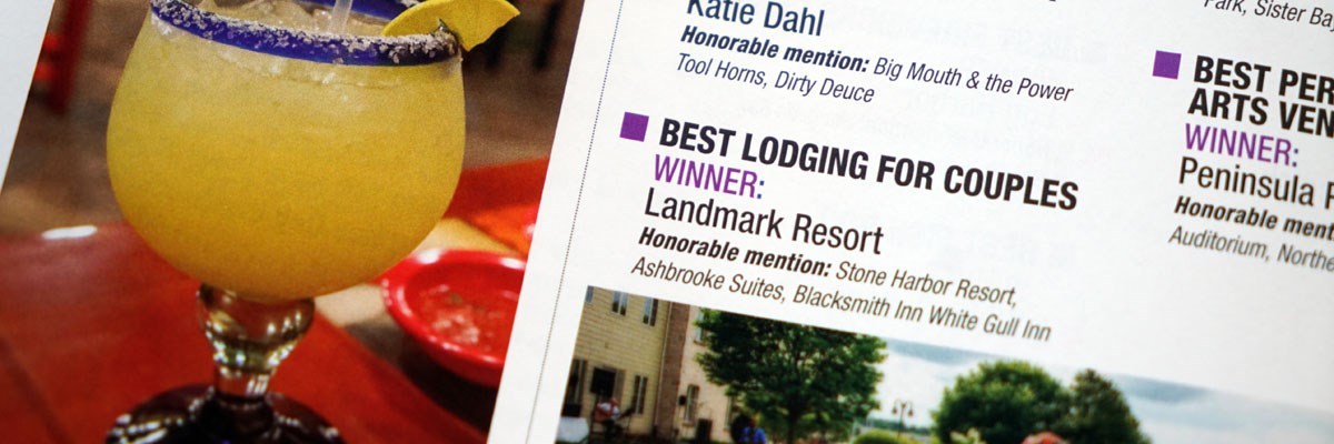The Landmark Resort was named Best Lodging for Couples in the Door County Magazine readership survey.
